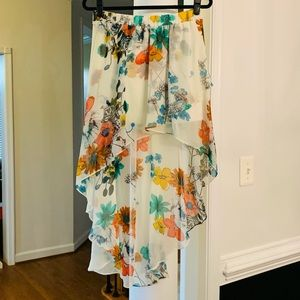 Colorful High Low Butterfly Overlay Wrap Skirt